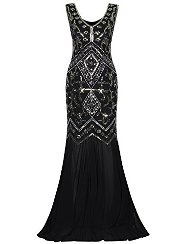 (Vijiv Women 1920s Wedding Dresses Roaring 20s Gowns V Neck Art Deco Beaded Gatsby)