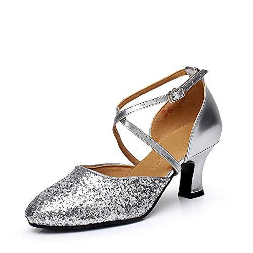 スタイル橋従来のレディース ダンスシューズ ヒール5.5cm 室外履き スタンダード タンゴ ジャズ ステージ 舞台 ソシアル 兼用靴