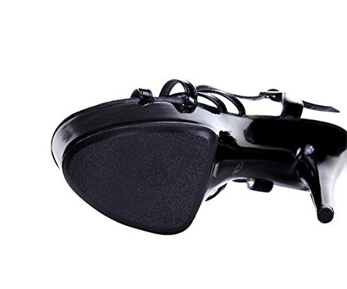 SexyPrey Women's Ankle Strap High Heel Strappy Cut-out Platform Sandal for Dress Party Black O7EVLn