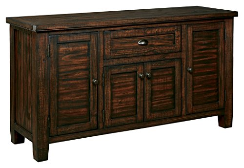 Ashley Furniture Signature Design - Trudell Dining Room Server - Solid Pine Wood Construction - Dark Brown Dining Room Buffet Servers