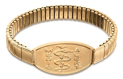 mens-gold-tone-stretch-band-medical-id-bracelet-percocet-allergy