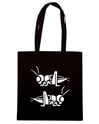T-Shirtshock - Bolsa para la compra FUN1094 crickets cute facing each other vinyl die cut decal sticker pair 95473 Negro