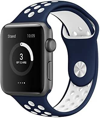 AWSTECH 42mm Soft Silicone Sport Style Replacement Watch band Strap for Apple iWatch Series 1 Series 2 - Midnight Blue/White