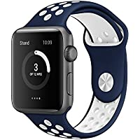 Apple Watch Band, AWStech 42mm Soft Silicone Sport Style Replacement Watch band Strap for Apple iWatch Series...