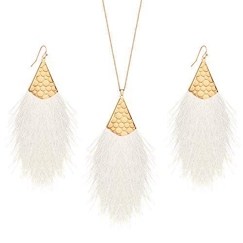 MINHIN Valentines Tassel Drop Jewelry Sets, Bohemian Silky Thread Fan Tassel Statement Drop Earrings Necklace - Feather Shape Strand Fringe Hook Dangles