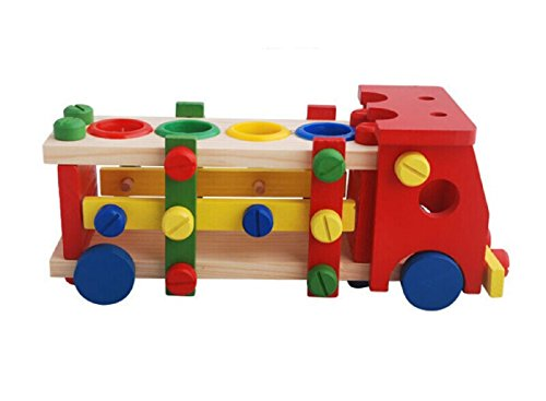 OWIKAR Wooden Toys Wood Train Set Vehicle Toy Reassembly Nut Car For Kids Dismount And Re-built Toys Brick Educational And Intelligent Toys Knock Toy Assembly Screw Train For Baby - Port Bridge Village