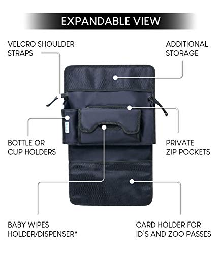 GeoBaby Modern and Universal Extra Storage Stroller Organizer With Cup Holders, Diaper Compartments, Wipes Dispenser, Phone Pockets, Baby Shower Idea by GeoBaby (Image #4)