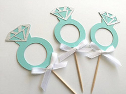 Aqua/Blue Diamond Ring Cupcake Toppers for Engagements and W