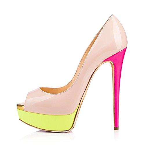 Arc-en-Ciel zapatos de plataforma de la mujer peep toe de tacón alto-nudeyellow-us14