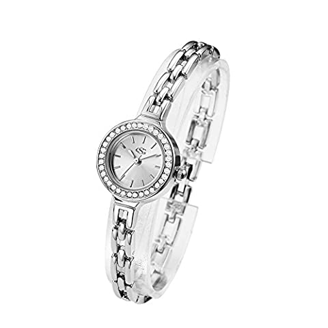 GEORGE SMITH 22 mm Austrain Crystals White Dial Women's Wrist Watch for Ladies with Stainless Steel (Water Proof Watches Ladies)