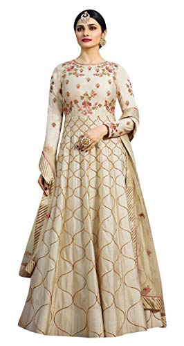 (STELLACOUTURE Indian Wear & Ethnic Wear Anarkali Salwar Suit Kasheesh Rajmahal (Off-White,)