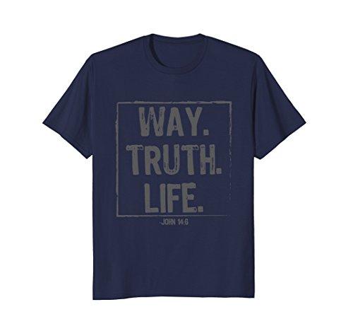 Mens Way Truth Life Bible Verse Scripture John 14:6 Christ TShirt XL Navy (One Way Jesus Christian T-shirt)