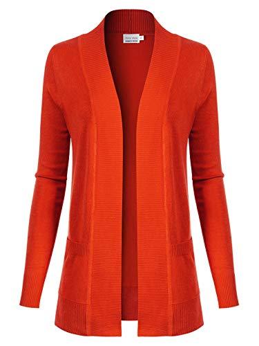 (Design by Olivia Women's Open Front Long Sleeve Classic Knit Cardigan Orange)