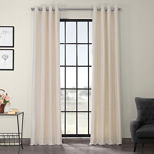 HPD Half Price Drapes PDCH-KBS2-96-GRBO Grommet Blackout Vintage Textured Faux Dupioni Silk Curtain, 50