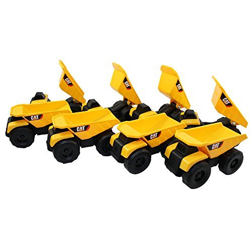 CAT Mini Machine Caterpillar Construction Toy Bundle Set of 8 Dump Trucks individually Packaged Free-Wheeling Vehicles Great As Cake Toppers or Party Favors for Kids (Dump Mini Truck)