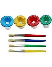 Healifty 8 Piezas de Pinceles para Niños Set de Pintura de Acuarela Taza de Lavado de Pintura Diy Dibujo Pinceles Herramientas para La Escuela Jardín de Infantes Hogar