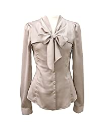 FOREVER YUNG Office Lady's Long Sleeve Bodycon Business Shirt with Bowknot Tie