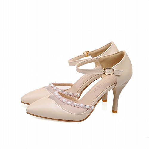Charm Foot Womens High Heel Mary Jane Pumps Shoes Beige riGN3T