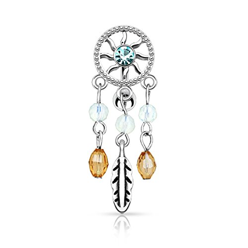 Pierced Owl Center CZ Crystal Dream Catcher Reverse Belly Button Ring with Dangling Accents (Crystal Belly Owl)