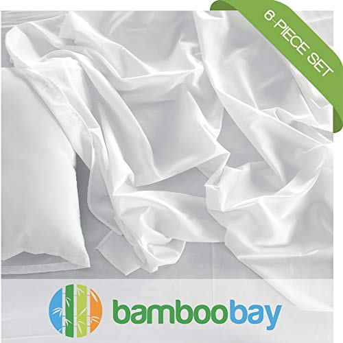 100% Viscose from Bamboo Sheets | Soft, Cool and Durable 6-Piece Bamboo Sheet Set - Extra Deep Pocket, No Slip Fitted Sheet | Certified Hypoallergenic, Sustainable and Eco-Friendly (King, White)
