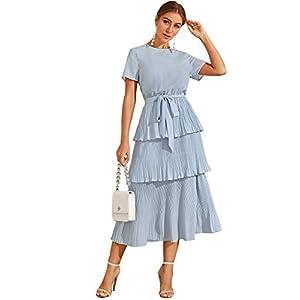 Verdusa Women's Ruffle Layered Pleated Short Sleeve Belted A-line Dress