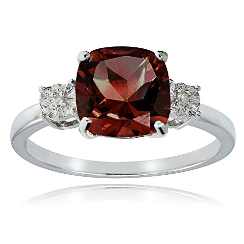 Sterling Silver African Garnet and Cushion-cut Ring , Size 5 (Cushion Cut Garnet Fashion Ring)
