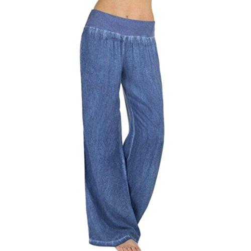 Minisoya Women Casual High Waist Elastic Denim Wide Leg Palazzo Pants Slacks Lounge Loose Jeans Trousers (Blue, ()