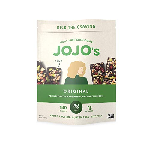 JOJO's Original Guilt-Free Chocolate, Pistachios, Almonds, Cranberries, and Plant Based Protein - 8.4oz Bag(7 Bars) I Low Carb I Low Sugar I Paleo & Vegan Friendly