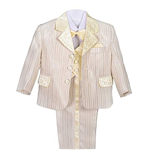 Dressy Daisy Boys' Striped Formal Dress Suits Tuxedo Vest Wedding Outfits 5 Pcs Set Size 4T Champagne