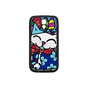 Graffiti Art Design Happy Cute Cat Sansung S4 Case,Phone Protective Case Plastic and TPU Material Laser Technology Printing Black and White