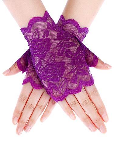 Skylety Sunblock Fingerless Bridal Lace Gloves Short Floral Gloves for Women (Purple 1) ()