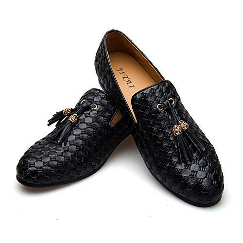 Men's Vintage Velvet Bv Embroidery Noble Loafer Shoes Slip-on Loafer Smoking Slipper Tassel Loafer (10.5 D (M) Us, Black)