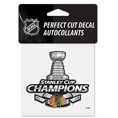 "Chicago Blackhawks 2015 Stanley Cup Champions Perfect Cut Color Decal 4"" x 4"""