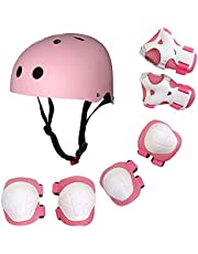 مجموعة معدات واقية للاطفال 7 في 1، تتضمن خوذة قابلة للتعديل وسادات للركبة والكوع والمعصم للاطفال للاستخدام اثناء اللعب بالسكوتر او الواح التزلج