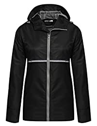 Meaneor Women Front-Zip Hooded Waterproof Outdoor Rain Reflective Stripe Jacket