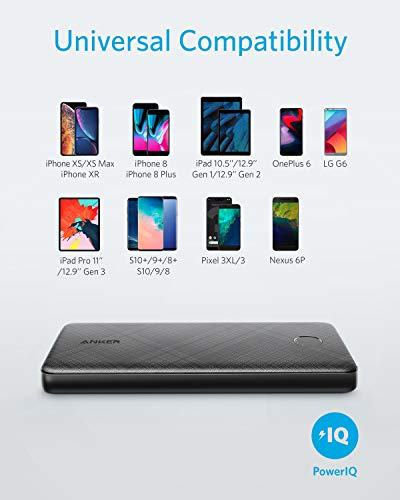 Anker Powercore Slim 10000, Extremely Thin Power Bank, Compact 10000 mAh External Battery, High Speed, PowerIQ And VoltageBoost Charging Technologies, Power Bank For iPhone, Samsung Galaxy And More