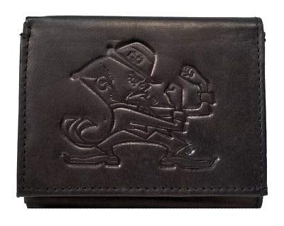 NCAA Notre Dame Fighting Irish Tri-Fold Leather Wallet, Black