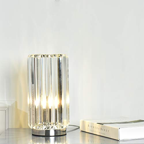 Cuaulans Modern Crystal Table Lamp, chrome finished Cylindrical Side Desk Lamp with Crystal Body and mental base for Bedroom, Living Room,Dining Room