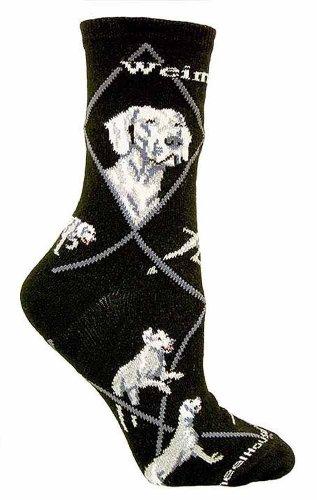 Weimaraner Black Cotton Dog Novelty Socks for Adults 9-11