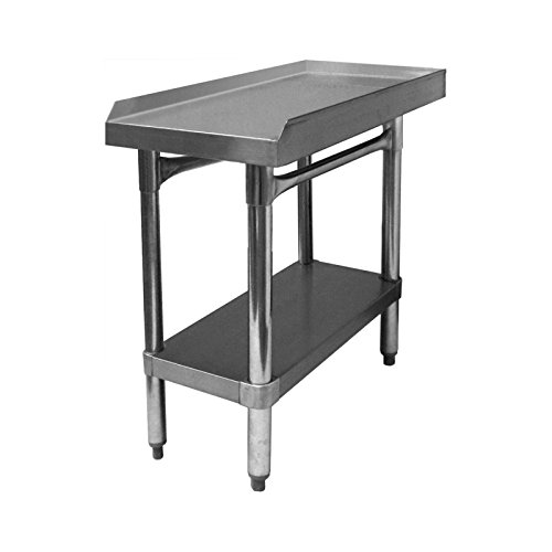 "GSW All Stainless Steel Commercial Equipment Stand with 1"" Upturn on 3 Sides, 1 Undershelf & Adjustable Bullet Feet, 30""W x 18""L x 24""H, NSF Approved"