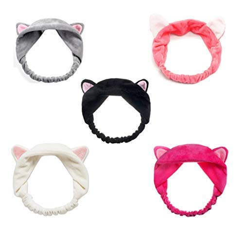 StyleZ 5PCS/Set Cute Kitty Cat Ear Headbands Women Girls Wash Face Spa Makeup Lovely Etti Wrap Hair Band -