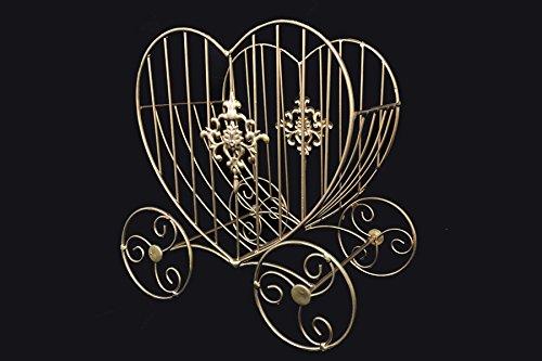 Ohah 11'' x 7'' x 11'' Gold Wire Heart Shape Cinderella Carriage Wedding Centerpiece