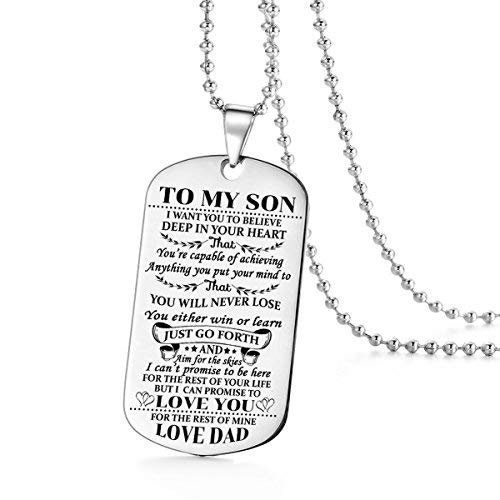 - to My Son I Want You to Believe Love Dad Dog Tag Military Air Force Navy Necklace Ball Chain Gift for Best Son Birthday Graduation Stainless Steel