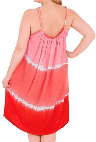 La Leela bordado a mano tie dye la playa de baño bikini traje de las mujeres cubrir caftán naranja