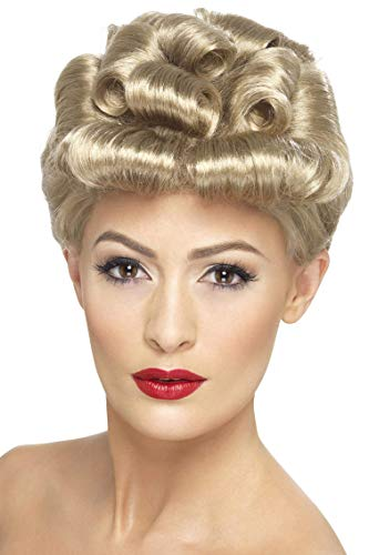 Smiffys Women's 40's Style Blonde Up do Wig with Curls, One Size, 40's Vintage -