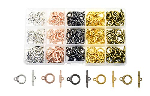 Mandala Crafts Toggle Clasp, T-Bar Closure from Metal for Jewelry Making in Bulk, Rose Gold, Bronze, Gunmetal, Silver, Gold Tone (Round 0.55 Inch 14mm 120 Sets)