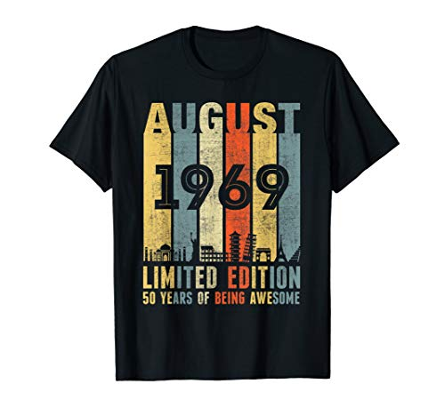 AUGUST 1969 Vintage Funny 50th Birthday Gift T Shirt