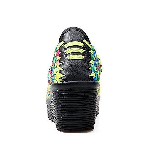 Enllerviid Femmes Été Ouvert Peep Toe Tissé Plate-forme Coins Sandales Confort Mary Jane Chaussures 667 Vert