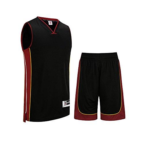 SanHeng Basketball Uniform V collar Jersey and Shorts Trainning Tank Top Set No Pockets (L, Black) by LanKe