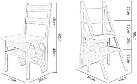 KSW_KKW Natural de Madera de múltiples Funciones Plegable Convertible Biblioteca Escalera Silla de Cuatro Pasos de heces: Amazon.es: Hogar